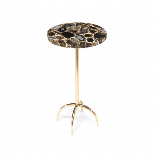 living room agate side table brass