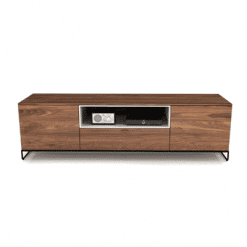 living room linea tv stand with wood doors