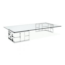 Harlan Coffee Table with Polished Stainless Steel