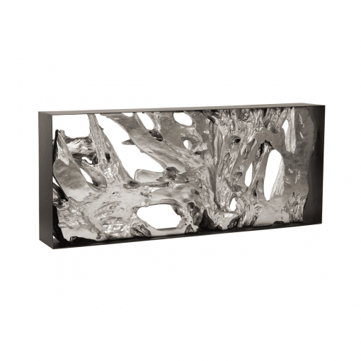 living room cast root console table silver leaf