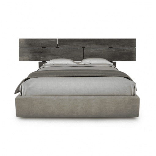 bedroom plank bed with wood finish