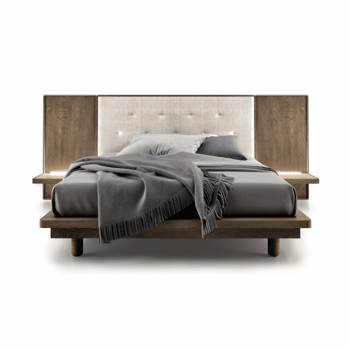 bedroom surface upholstered bed with shelves