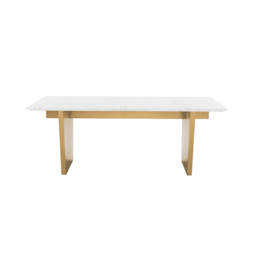 AIDEN DINING TABLE  WHITE GOLD FRONT