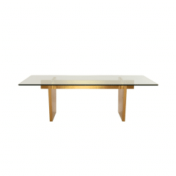 AIDEN DINING TABLE  GLASS GOLD FRONT