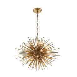 lighting burst 23 inch chandelier antique brass