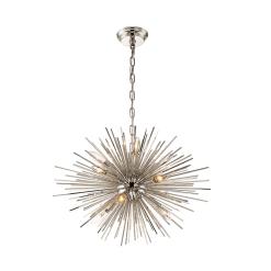 lighting burst 23 inch chandelier polished nickel