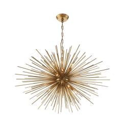 lighting burst 35 inch chandelier antique brass