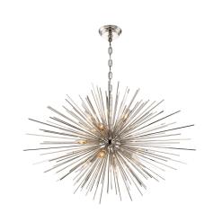 lighting burst 35 inch chandelier polished nickel
