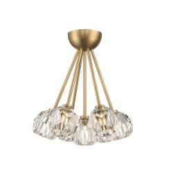 lighting parisian 7 light flush mount brass