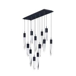 lighting quartz 12 light pendant black
