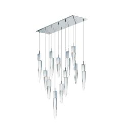 lighting quartz 12 light pendant chrome