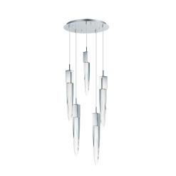 lighting quartz 5 light pendant chrome