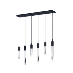 lighting quartz 6 light pendant black