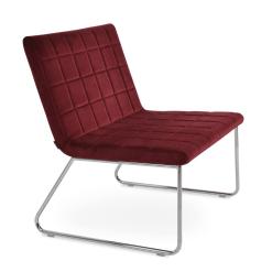 Chelsea Sled Lounge Chair in Cherry Velvet