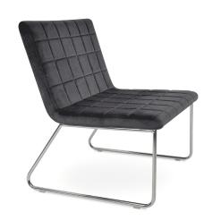 Chelsea Sled Lounge Chair in Grey Velvet
