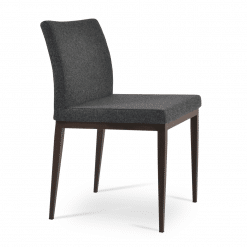 Aria MW Dining Chair Dark Grey Camira Wool Front