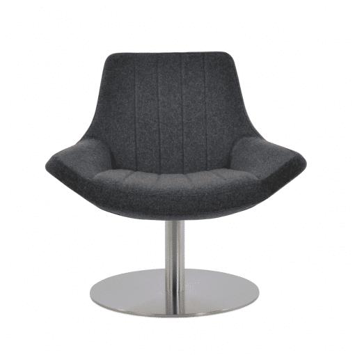 living room bellagio round lounge chair dark grey camira wool