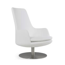 living room dervish high back swivel white leatherette