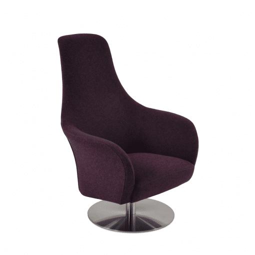 living oom pierre loti round swivel chair deep maroon camira wool