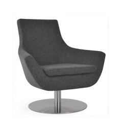 living room rebecca round swivel chair dark grey camira wool