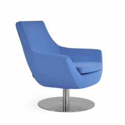 living room rebecca round swivel chair sky blue camira wool