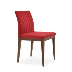 dining chair zeyno american walnut red camira era fabric