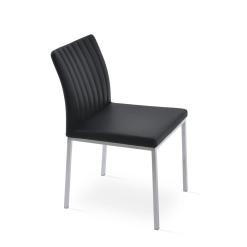 dining chair zeyno metal black leatherette chrome