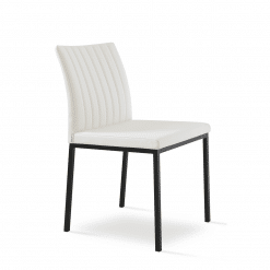 dining chair zeyno metal white leatherette black powder