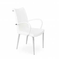 dining room tulip metal arm chair white ppm 001