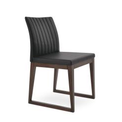 dining room zeyno sled wood chair black leatherette