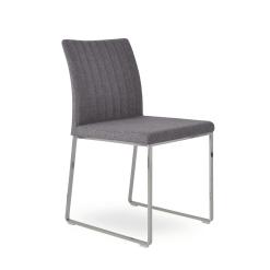 dining room zeyno metal sled medium grey camira wool chrome