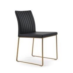 dining room zeyno metal sled black leatherette gold brass