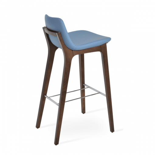 pera hb wood bar stool blue leatherette