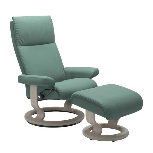 Stressless Aura Classic Chair in Paloma Aqua Green and Whitewash Wood Base