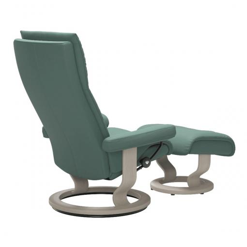 Stressless Aura Classic Chair in Paloma Aqua Green and Whitewash Wood Base Back
