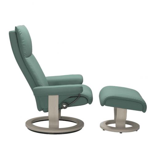Stressless Aura Classic Chair in Paloma Aqua Green and Whitewash Wood Base Side