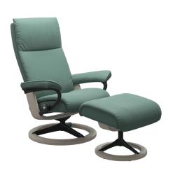 Stressless Aura Signature Chair with Footstool Aqua Green Paloma and Whitewash Wood
