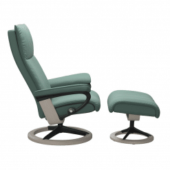 Stressless Aura Signature Chair with Footstool Aqua Green Paloma and Whitewash Wood Side