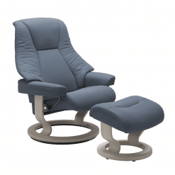 Stressless Live Classic in Paloma Sparrow Blue and Whitewash Wood