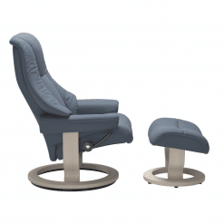 Stressless Live Classic in Paloma Sparrow Blue and Whitewash Wood Side