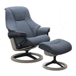 Stressless Live Signature Chair Paloma Sparrow Blue and Whitewash Wood