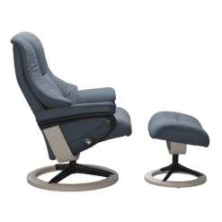 Stressless Live Signature Chair Paloma Sparrow Blue and Whitewash Wood Side