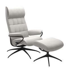 Stressless London High Back Chair Cori Off White and Matte Black