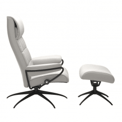 Stressless London High Back Chair Cori Off White and Matte Black Side