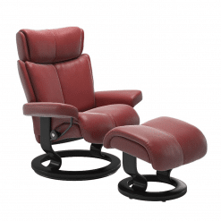 Stressless Magic Classic Chair with Footstool Cori Brick Red and Black Wood