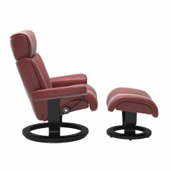 Stressless Magic Classic Chair with Footstool Cori Brick Red and Black Wood Side