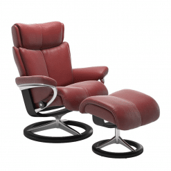 Stressless Magic Signature Chair with Footstool Cori Brick Red and Black