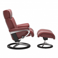 Stressless Magic Signature Chair with Footstool Cori Brick Red and Black Side