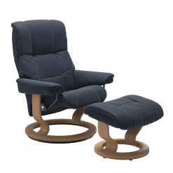 Stressless Mayfair Classic Chair with Footstool Paloma Oxford Blue and Oak