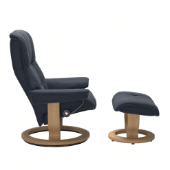 Stressless Mayfair Classic Chair with Footstool Paloma Oxford Blue and Oak Side